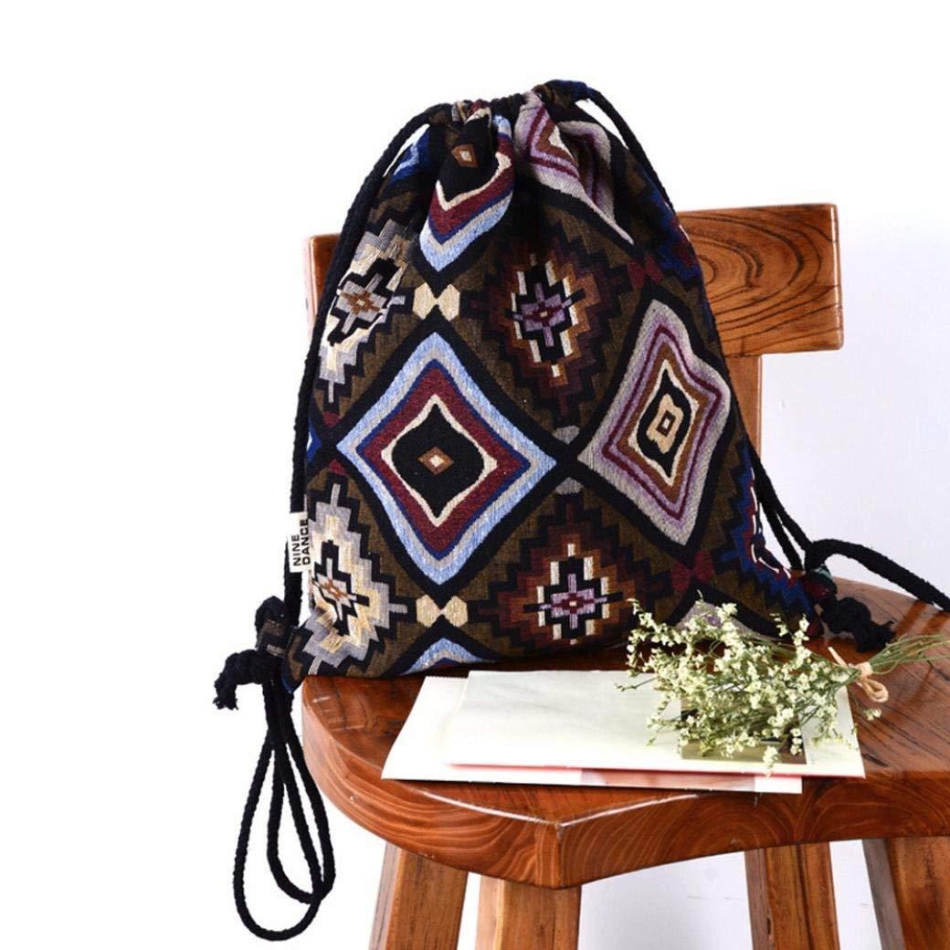 Chartsea Drawstring Bucket Bag Bohemia Printing Canvas Printing High Capacity Bucket Bag Backpack Shoulder Bag (B)