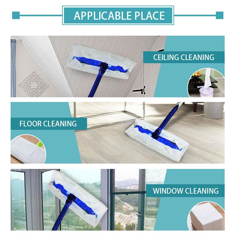 व्यापक पैड केवल एक बार mops के साथ डिस्पोजेबल फर्श की सफाई कपड़ा डिस्पोजेबल पोंछे
