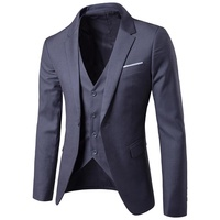 Casual Slim Fit Single Button Groom Wedding Three Piece Suit Blazers For Men