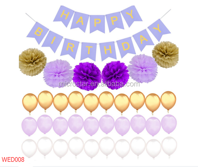 Tissue Paper Pom Poms Flowers Gold Purple White Color Latex Balloons Perfect Party Decoration Supplies for Birthday