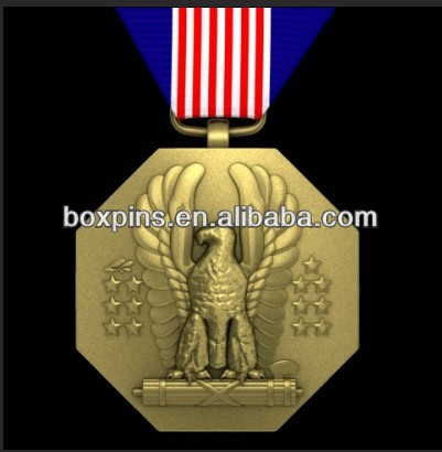 Gold Metal US Soldiers Medal 3D Model