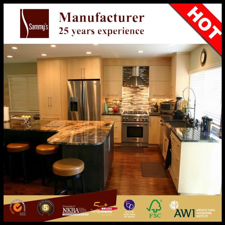 Arce de madera maciza moderna cocina modular del gabinete de ...