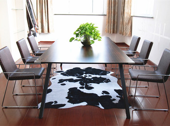 Hide Rugs Animal Print Area Rug Cow Design Faux Fur For Living Room 140 200cm White And Black Washable