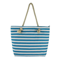 Factory high quality striped beach towel bag custom canvas beach bag