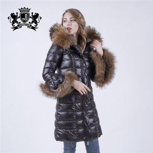 Light Weight Warm Coat For Winter Luxurious Fur Trimmed Cuff and Women's Goose Down Coat