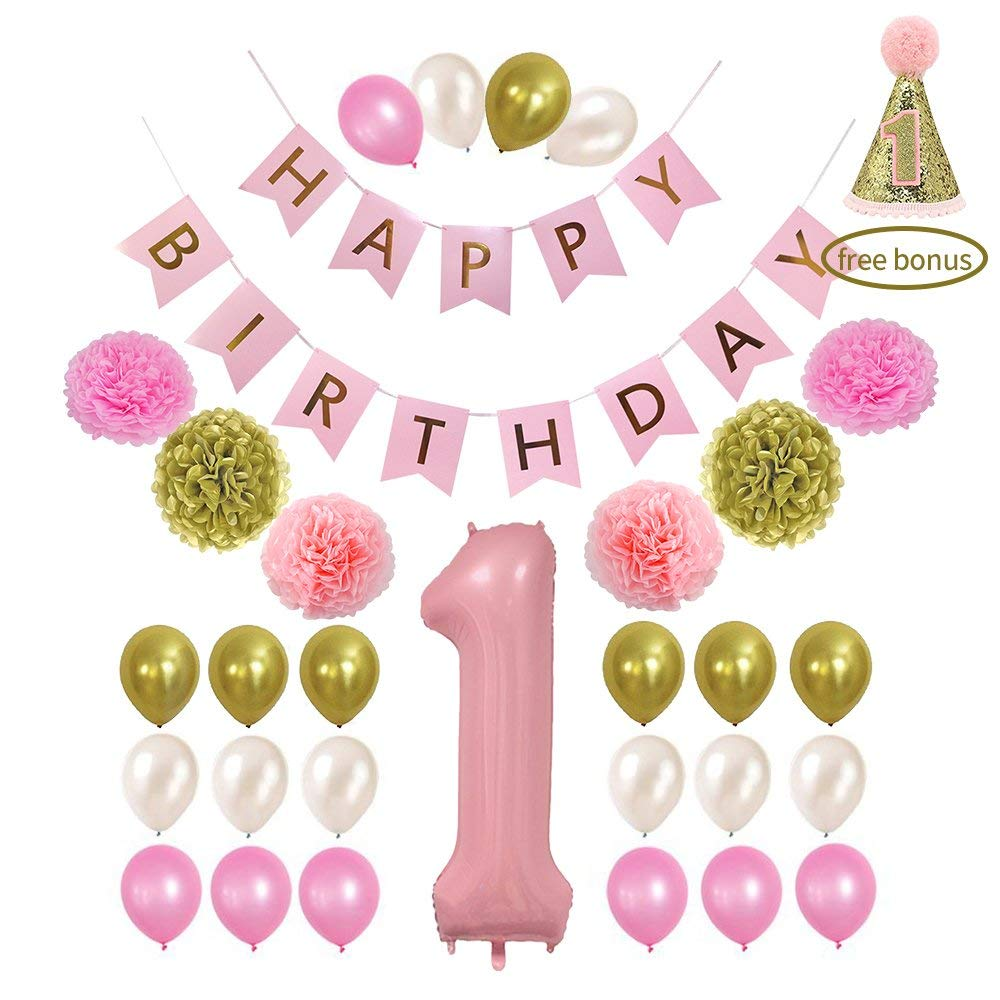 Get Quotations Litaus 1st Birthday Decorations Happy Banner Baby Girl Number 1 Balloon