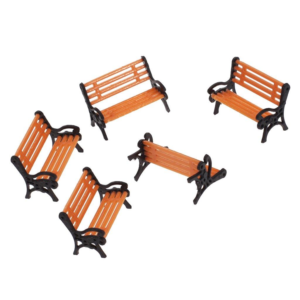 5Pcs 1:75 Plastic Model Park Bench Model Landscape (Orange and Black)