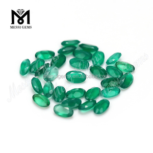 Oval cut 3x5mm natural green agate stone