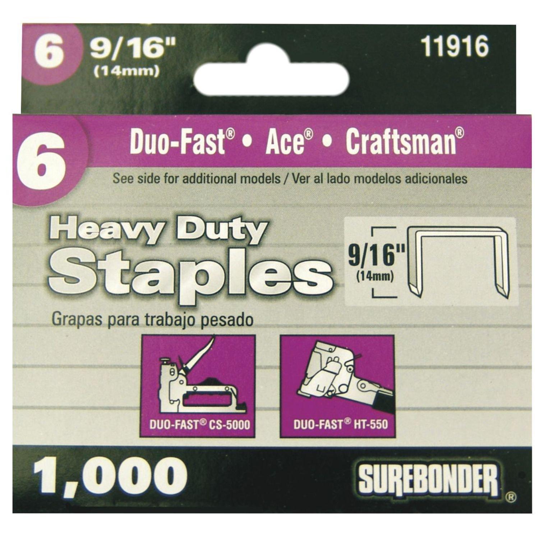Surebonder 11916 Heavy Duty Duo-Fast Type, 9/16-Inch Leg Length, .485-Inch Crown Staple, 1000 Count