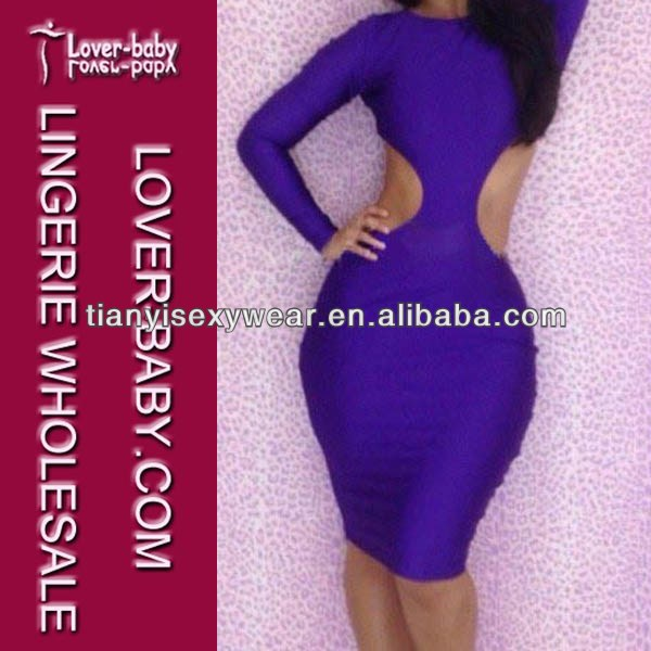 Purple sexy revealing evening dress for ladies L2609-2