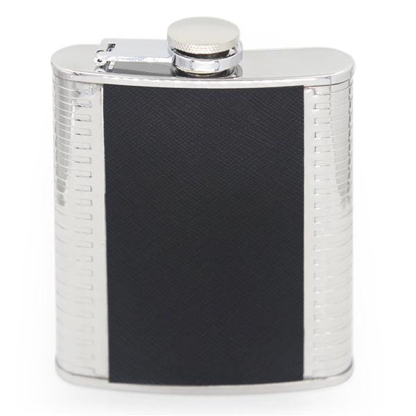4 OZ flagon Narrow style with black twill leather hip flask