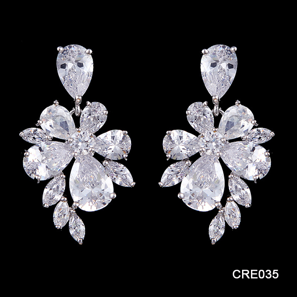 Alibaba Latest Hot Sale Design Colored AAA CZ Wedding Jewelry Heavy Bridal Earrings