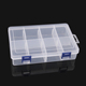 Single layer 8 Compartments large transparent detachable double buckle parts accessories plastic divided storage box