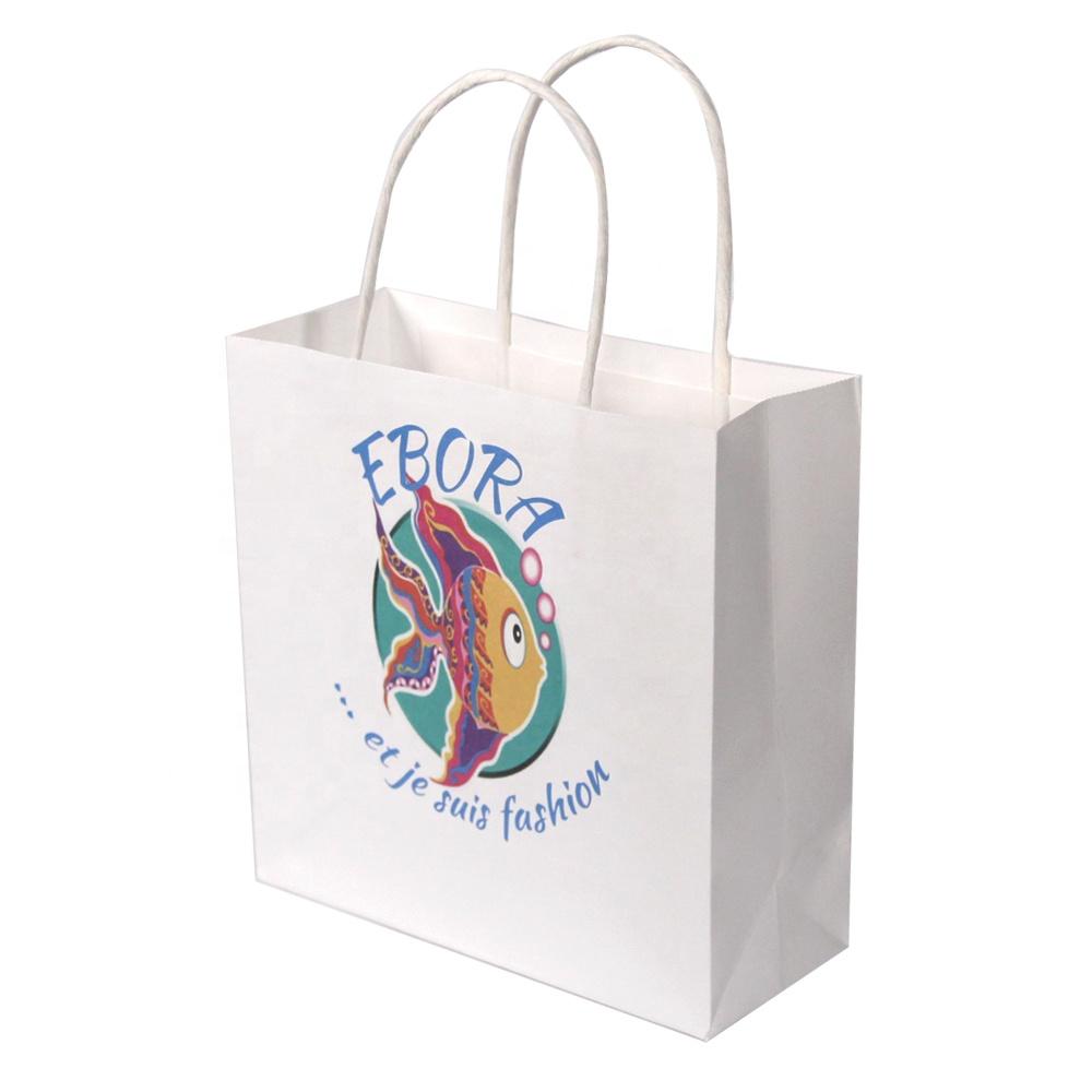 White kraft paper bag custom printed color logo bags