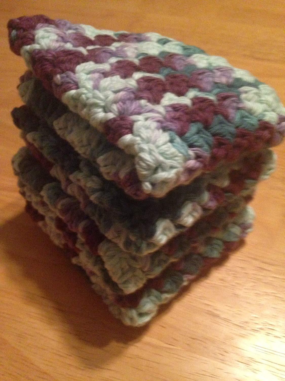 Dish Cloths, Wash Cloths, Maroon Green Ombre (Dishcloths, Washcloths), Set of 4