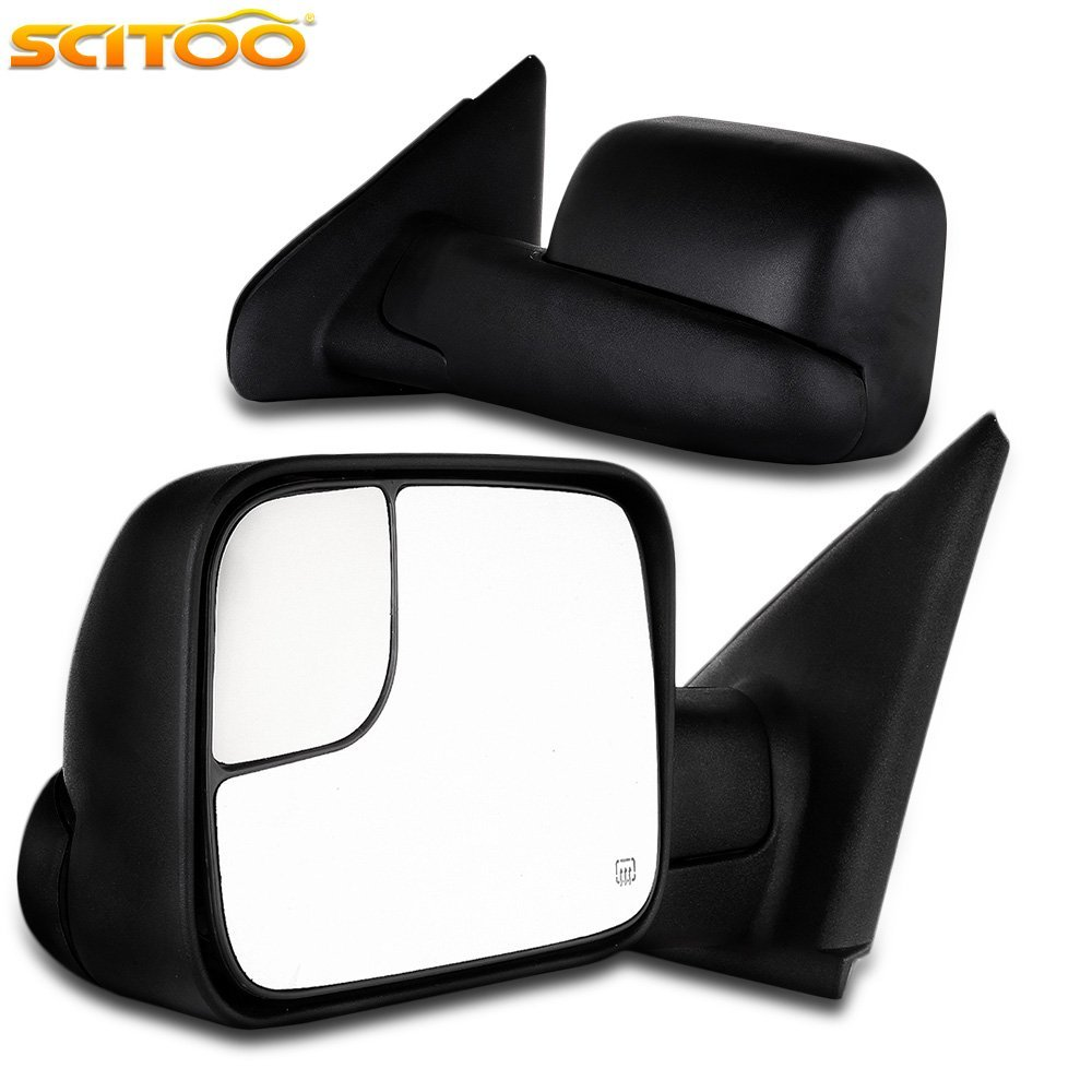 Scitoo Dodge Ram Towing Mirrors Pair Rear View Mirrors for 1998-2001 Dodge Ram 1500 2500 3500 with Power Control Heated Manual Telescoping and Manual Folding Features