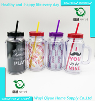 2015 Promotion 500ml BPA free travel tumbler, wholesale double wall glass starbucks plastic tumbler with straw