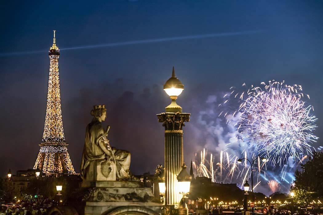 Paris, Photography, Bastille Day, 14 Juillet, fireworks, Eiffel Tower, Place Concorde, statue, street lamp, beacon, lit up, France, Europe, Art Print, Wall Art, Gift, Decor, Photo