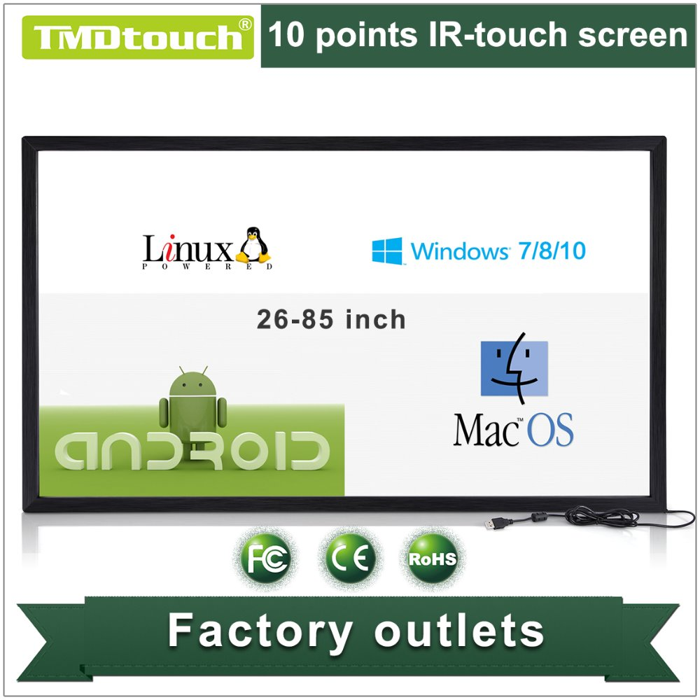 [TMDtouch]50 inch 6 points IR multi touch screen overlay,USB infrared touch screen panel/overlay/frame for tv/lcd monitor