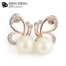 2017 Environmental hot sale new model gold plated women pearl earring factory china