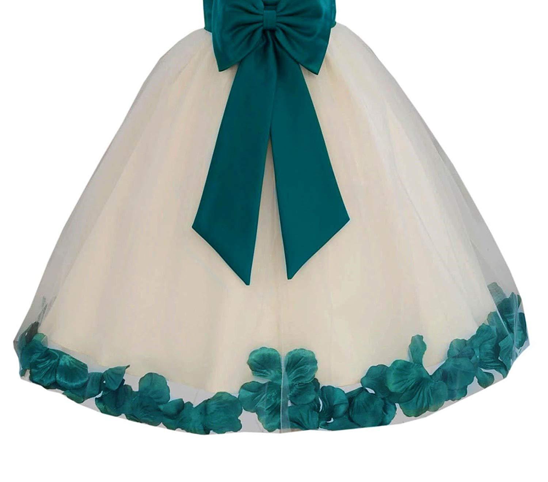fa1f969eda9 ekidsbridal Ivory Floral Lace Heart Cutout Floral Petals Formal Flower Girl  Dresses 185T
