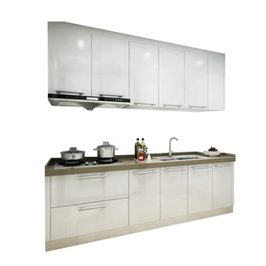 high end KD modern pure white lacquer high gloss finish kitchen cabinet for project use from China