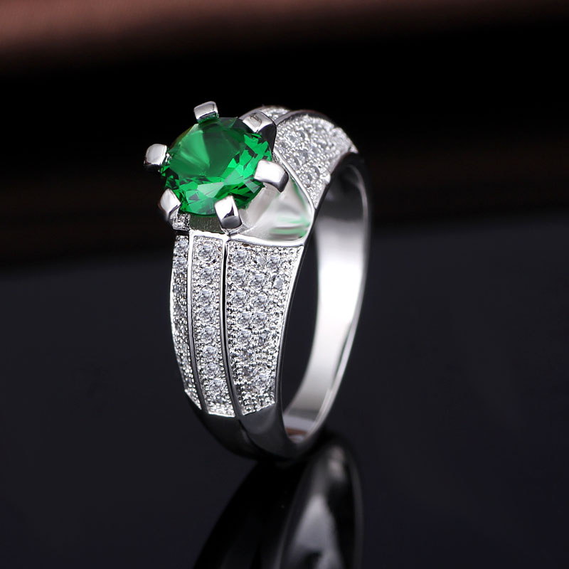 Dark Green Stone Silver Engagement Rings Jewellery