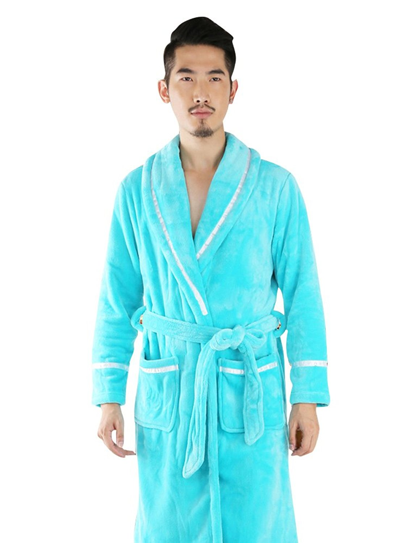 Get Quotations · Warjase Thermal Cozy Warm Fleece Bathrobe Mens Flannel  Pajama Long Robes 5074a4bae