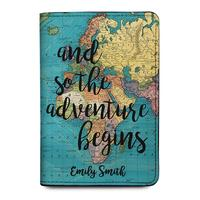 World Map Personalized Leather Passport Holder Cover