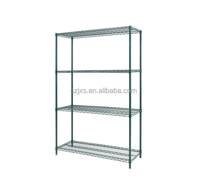 Green Epoxy-Coated Storage Wire Shelving 4 Tier Shelf Adjustable Steel Wire Shelving warehouse garage storage wire shelf