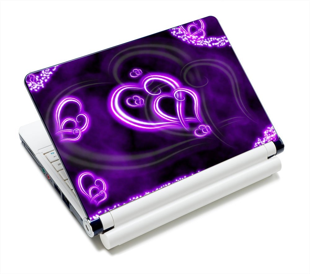 """Purple Hearts Fashion 11.6"""" 12.1"""" 13"""" 13.3"""" 14"""" 15"""" 15.4"""" 15.6"""" Netbook Laptop Skin Sticker Reusable Protector Cover Case for 11.6"""" -15.6"""" Inch Apple Acer Leonovo Sony Asus Toshiba Hp Samsung Dell"""