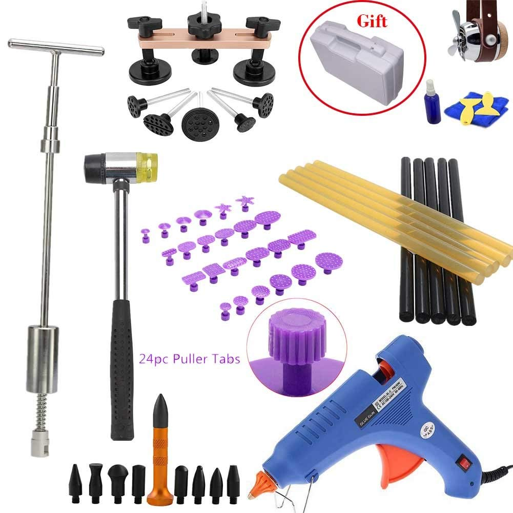 SOTRLO Auto Body Dent Removal PDR Rod Tool Kit Hail and Door Ding Repair Starter Set with Dent Hummer Tap Down Tool