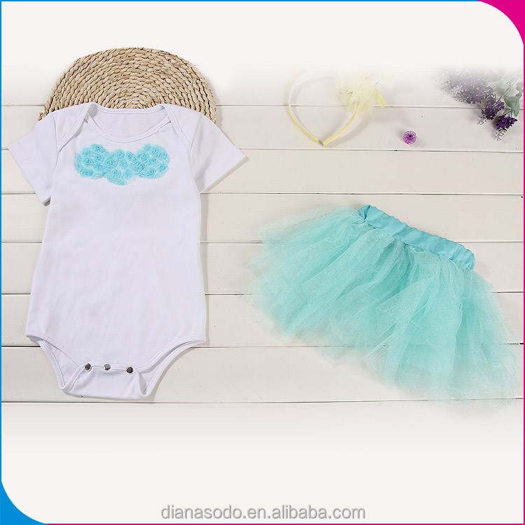 High Quality Cotton Rompers Babywear, Romper For Girl With Blue Skirt