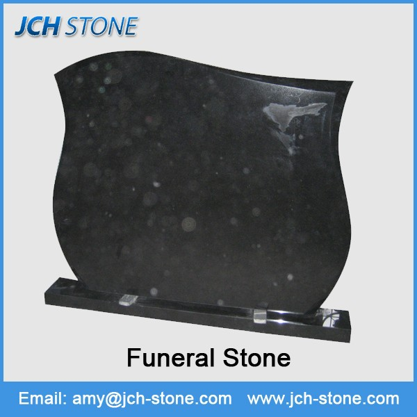 Simple design black funeral stone