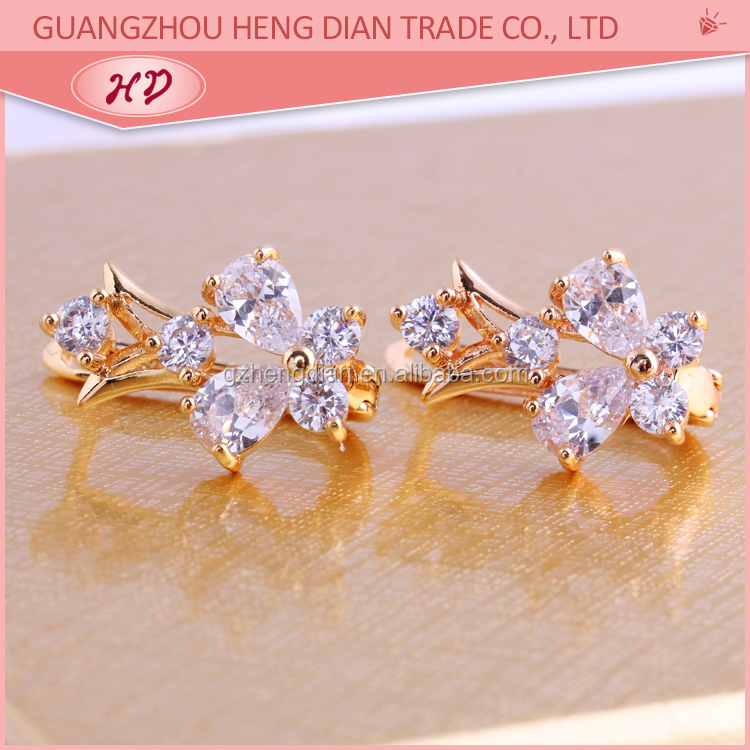 New Fashion Have Stock 18K Gold Plated Zircon Huggies Earrings Jewelry