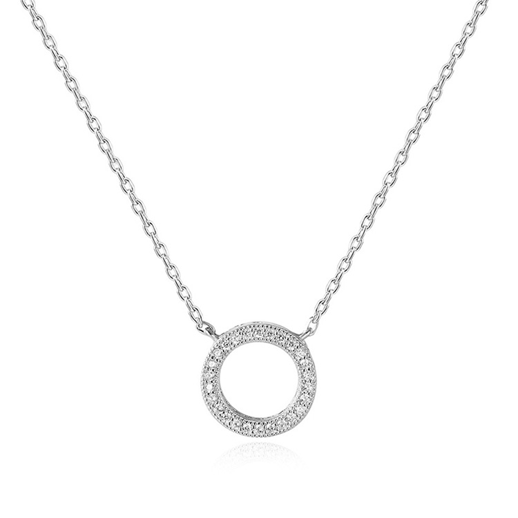 POLIVA Fashion Sparkle 925 Sterling <strong>Silver</strong> Round Cut Small White Diamond Circle of Life Necklace