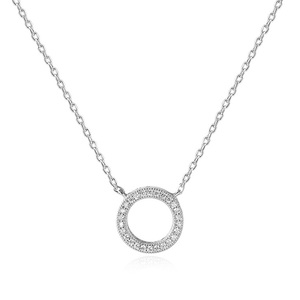 POLIVA Fashion Sparkle 925 Sterling Silver Round Cut Small White Diamond Circle of Life Necklace