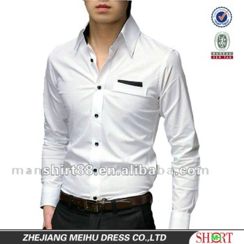 White 100% Cotton Tailored Fit Pointed Collar Dress Shirts For Men ...