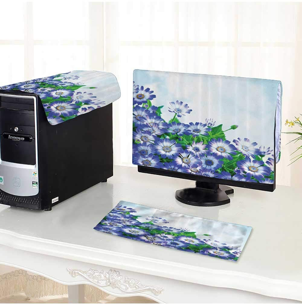 """Leighhome dust Cover for Computer 3 Pieces eBunch of Fresh Wildflowers in Grass Vivid Spring Daisy Bloom Over Sky Floral Suit Computer dust Cover /23"""""""