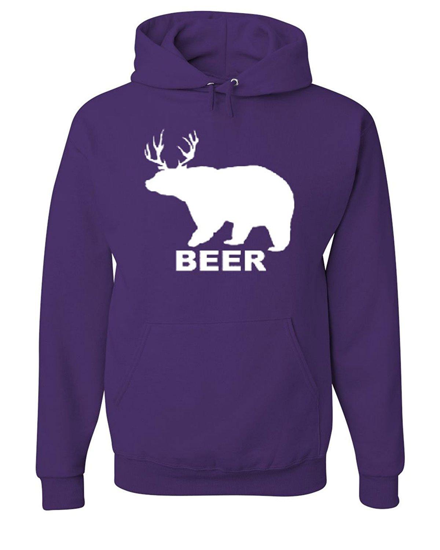 Bear + Deer = Beer Funny Drinking Hoodie Beer Sweatshirt