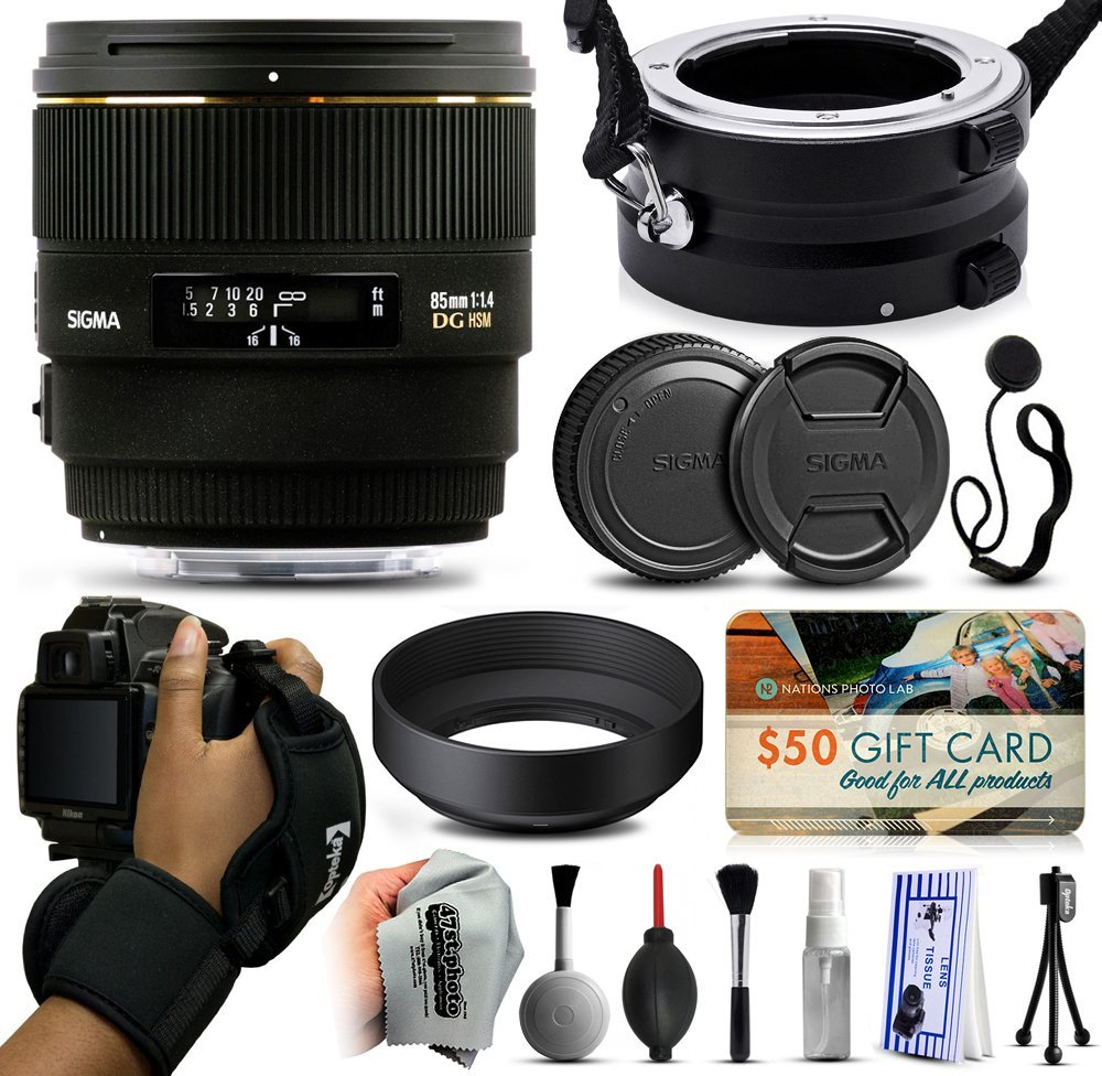 Sigma 85mm F1.4 EX DG HSM Lens for Nikon (320306) with Exclusive Dual Lens Holder/Flipper + Wrist Strap + Cap Keeper + Deluxe Lens Cleaning Kit for Prints