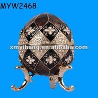 antique Resin faberge egg hand crank sankyo music boxes