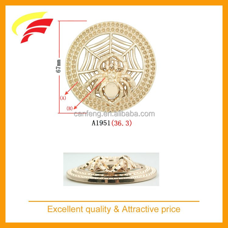 fashion zinc alloy round shaped spider decorative belt buckle with rhinestones