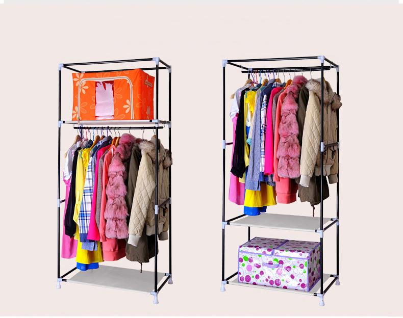 Portable Double Canvas Wardrobe Rail Clothes Storage Bedroom Closet Organizer