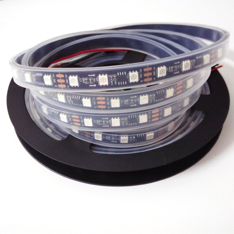 5m Ws2811 Led Strip 60 Led/m White/black PCB Tube Waterproof 2811ic Magic Color Addressable 5050smd Dc12v Ws2811 Rgb Led Strip (Black PCB)