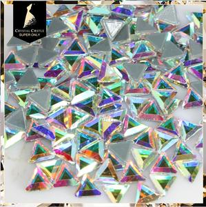 Rhinestone yiwu manufacturer crystal stone triangle glass rhinestones hot fixing AB shiny strass rhinestone