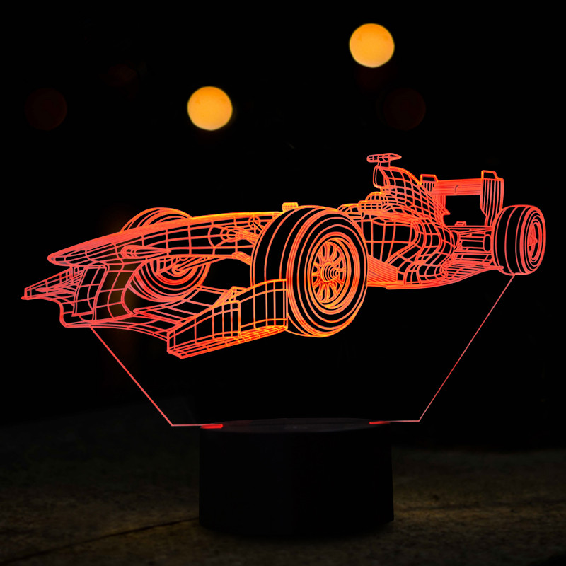 Table Children Room Desk Bed Modern Touch Usb Kids Gifts 7 Colours Mini Racing Car 3D LED Night lights