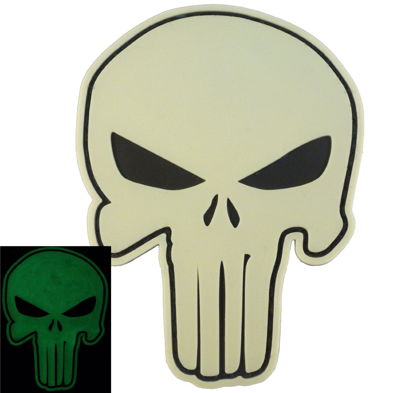 GITD PVC 3D Rubber Punisher Skull USA Sealteam DEVGRU Glow Dark Hook&Loop Patch