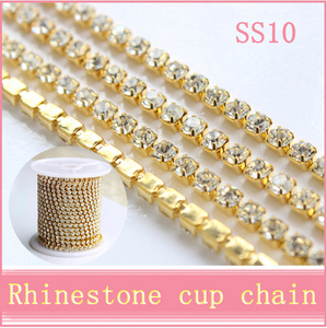 3mm wholesale china good quality with 10 yards each roll cup chain rhinestone trimming