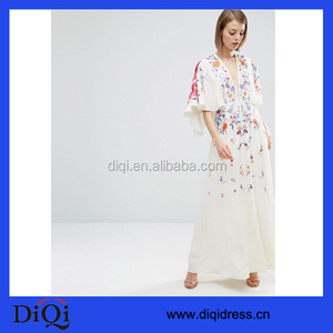 Embroidered Kimono Deep Plunge Maxi Dress Women Long Dresses